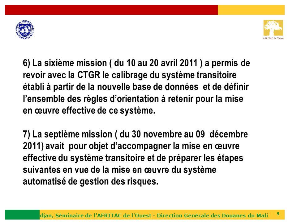 6) La sixième mission ( du 10 au 20 avril 2011 ) a permis de revoir avec la CTGR le calibrage du système transitoire établi à partir de la nouvelle base de données et de définir l'ensemble des règles d'orientation à retenir pour la mise en œuvre effective de ce système.