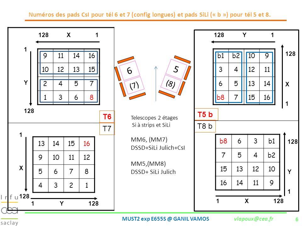 Numéros des pads CsI pour tél 6 et 7 (config longues) et pads SiLi (« b ») pour tél 5 et 8.