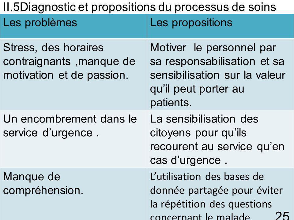 II.5Diagnostic et propositions du processus de soins B)Concernant l'équipe: