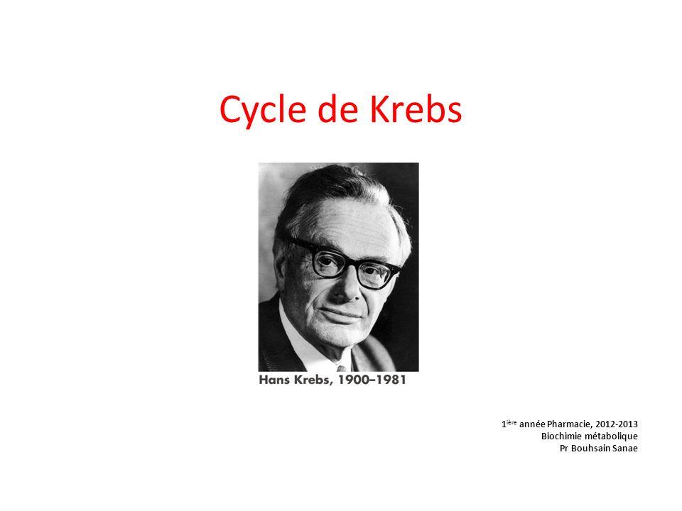 Cycle de Krebs 1ière année Pharmacie, 2012-2013 Biochimie métabolique