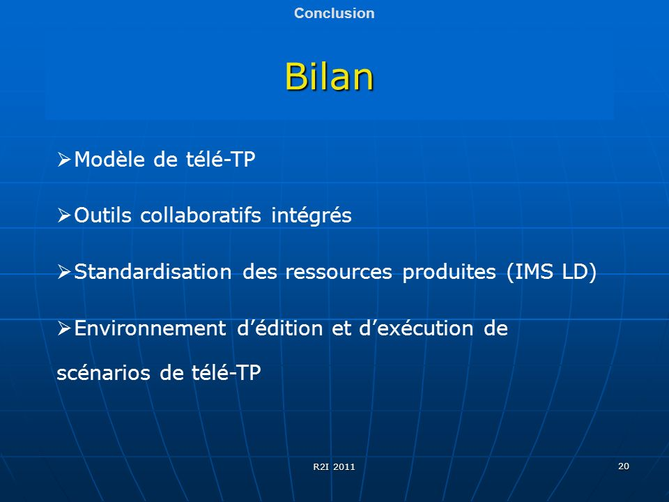 Bilan Modèle de télé-TP Outils collaboratifs intégrés