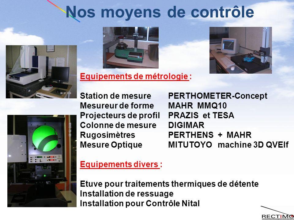 Nos moyens de contrôle Equipements de métrologie :
