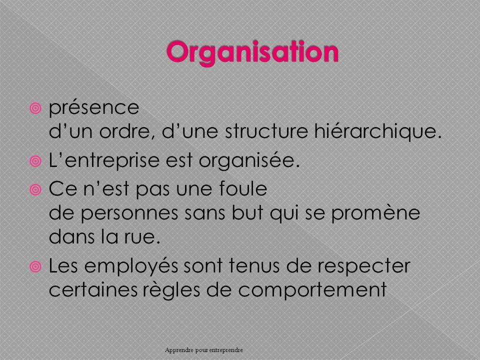 Organisation présence d'un ordre, d'une structure hiérarchique.