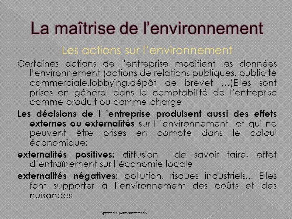 La maîtrise de l'environnement