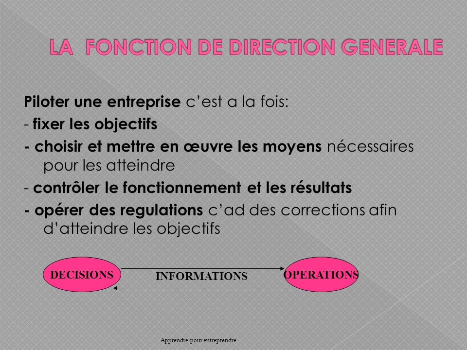 LA FONCTION DE DIRECTION GENERALE