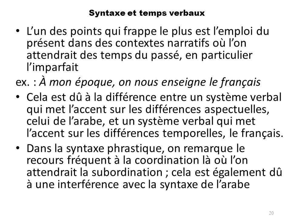 Syntaxe et temps verbaux