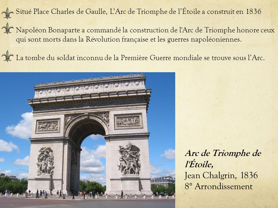 Arc de Triomphe de l Étoile, Jean Chalgrin, 1836 8° Arrondissement