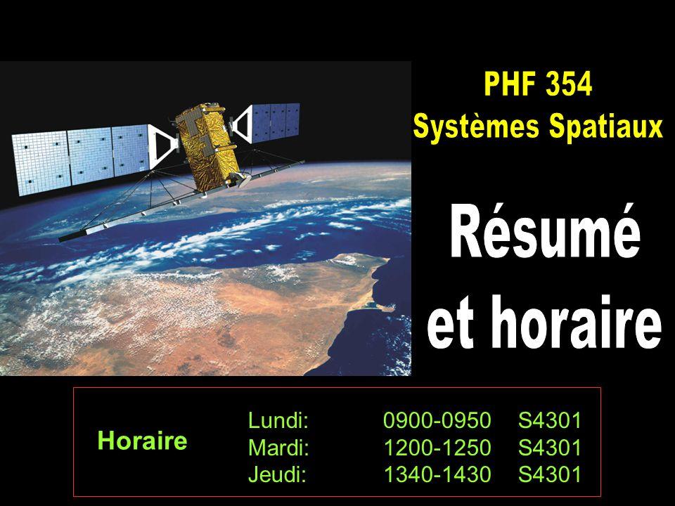 PHF 354 Systèmes Spatiaux Résumé et horaire Horaire
