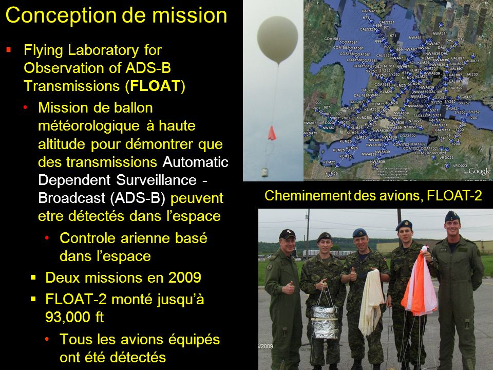 Conception de mission Flying Laboratory for Observation of ADS-B Transmissions (FLOAT)