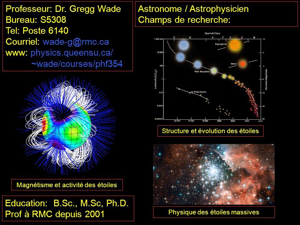 Professeur: Dr. Gregg Wade Bureau: S5308 Tel: Poste 6140
