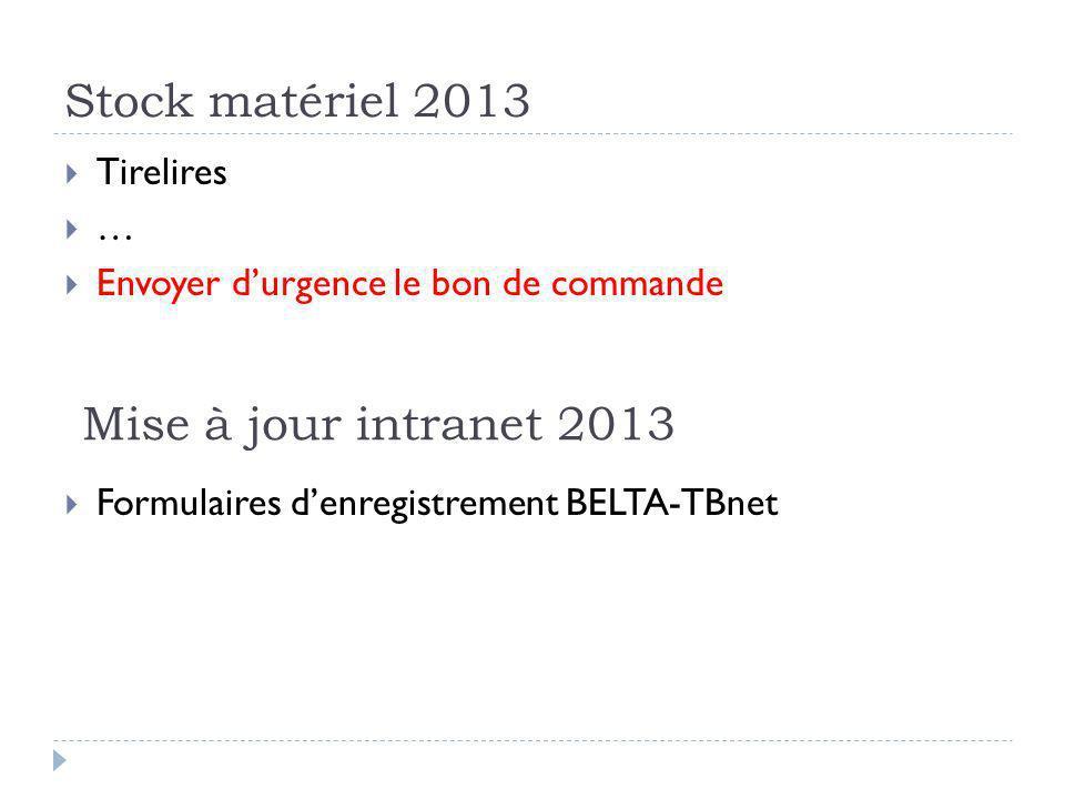 Stock matériel 2013 Mise à jour intranet 2013 Tirelires …