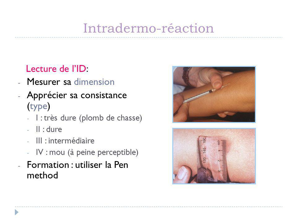 Intradermo-réaction Lecture de l'ID: Mesurer sa dimension