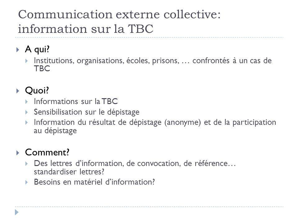 Communication externe collective: information sur la TBC