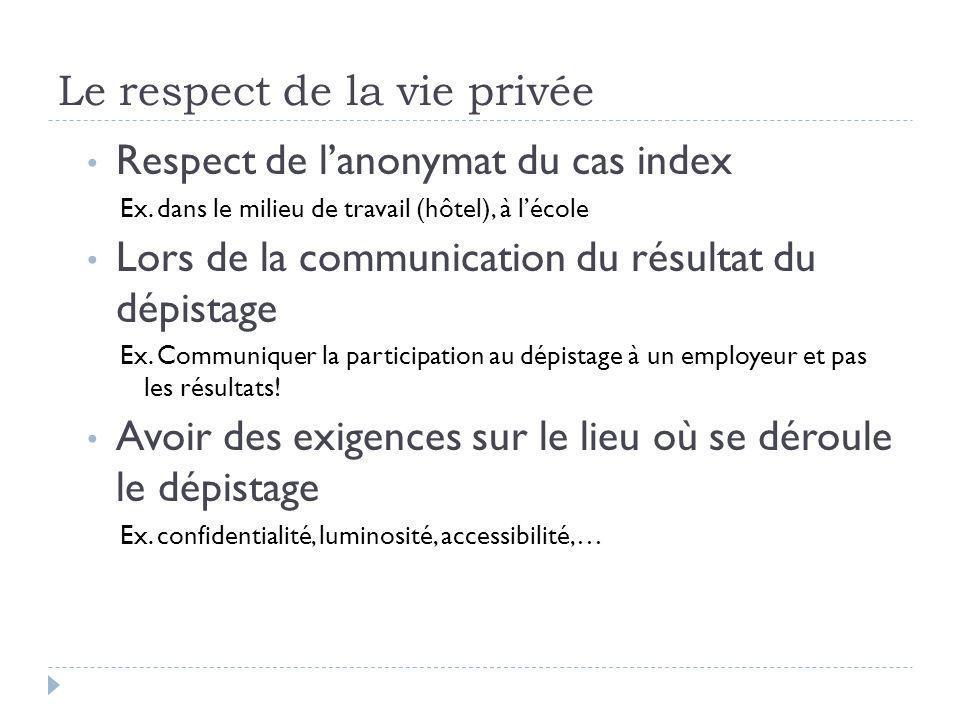 Le respect de la vie privée