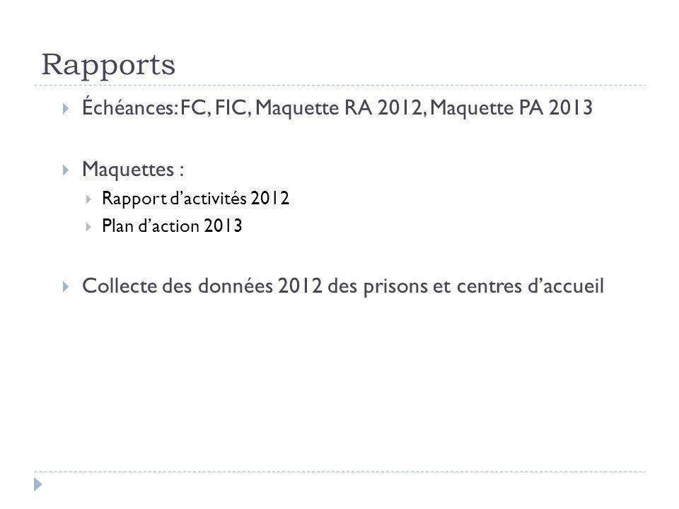 Rapports Échéances: FC, FIC, Maquette RA 2012, Maquette PA 2013