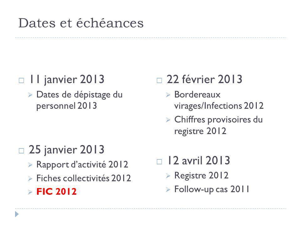 Dates et échéances 11 janvier 2013 25 janvier 2013 22 février 2013