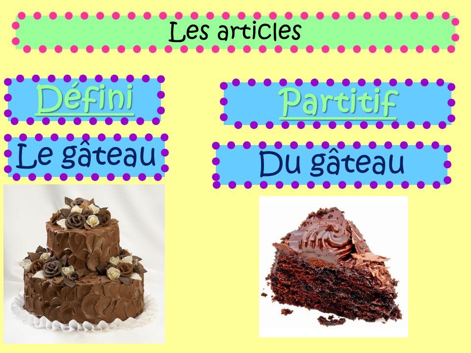 Les articles Défini Partitif Le gâteau Du gâteau