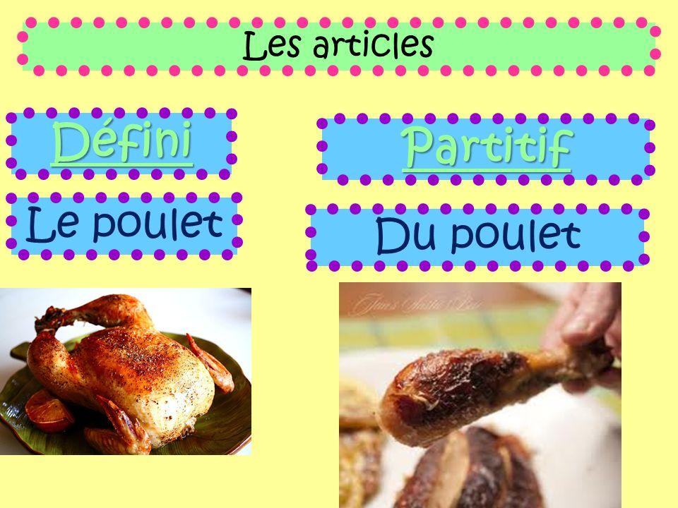 Les articles Défini Partitif Le poulet Du poulet