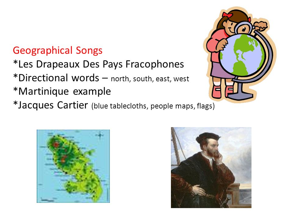 Geographical Songs *Les Drapeaux Des Pays Fracophones. *Directional words – north, south, east, west.