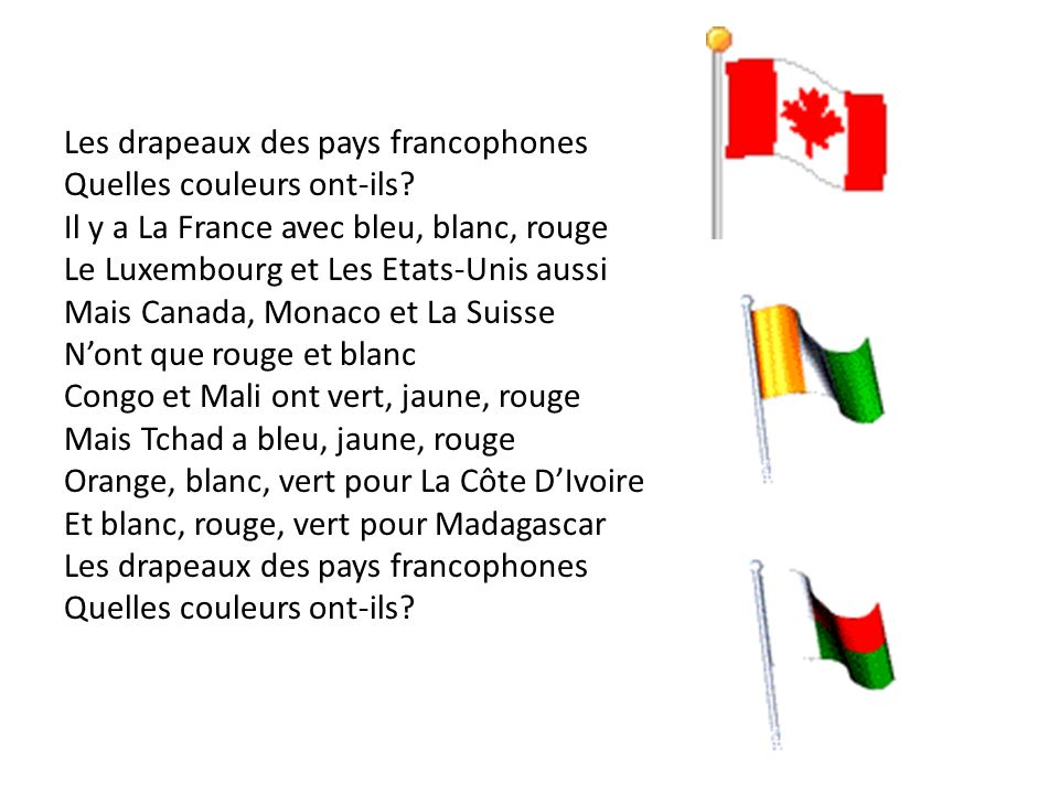 Les drapeaux des pays francophones