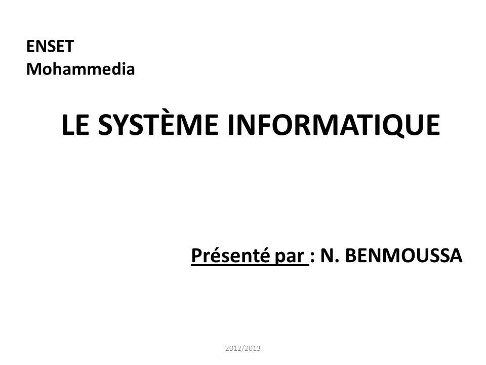 LE SYSTÈME INFORMATIQUE Présenté par : N. BENMOUSSA