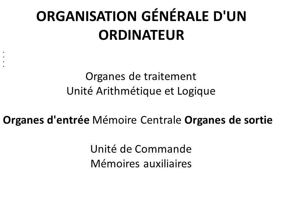 ORGANISATION GÉNÉRALE D UN ORDINATEUR