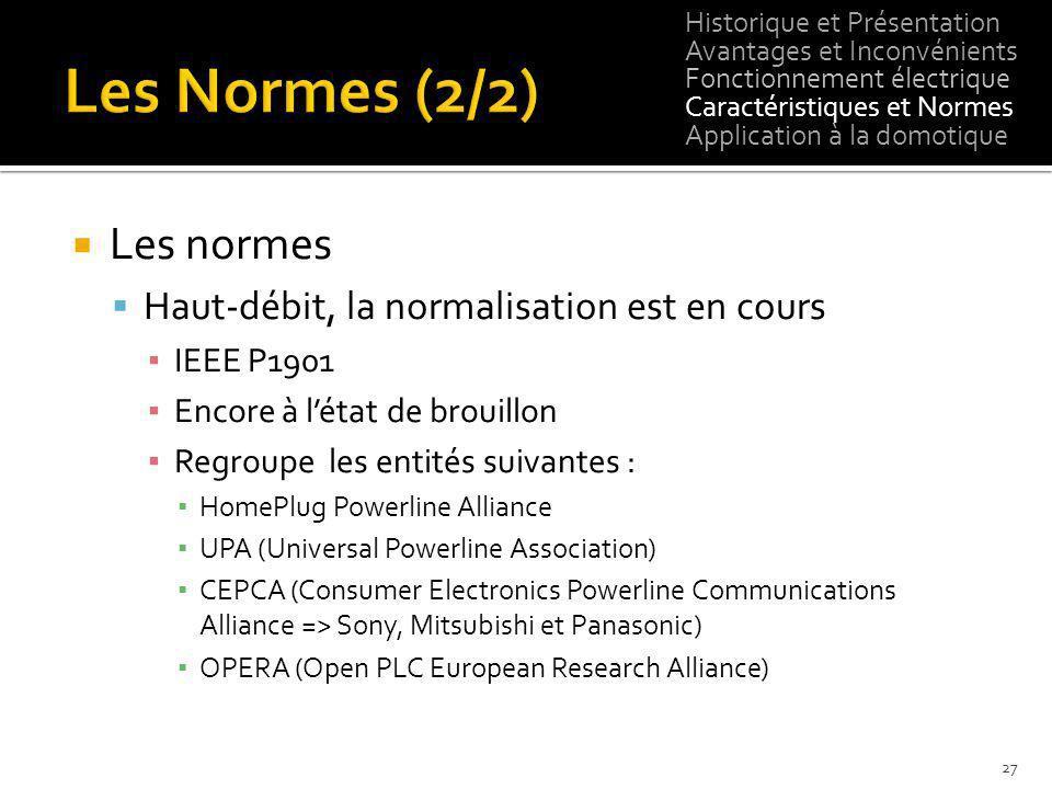 Les Normes (2/2) Les normes Haut-débit, la normalisation est en cours