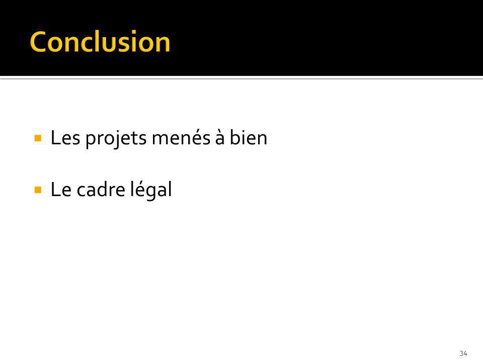 Conclusion Les projets menés à bien Le cadre légal