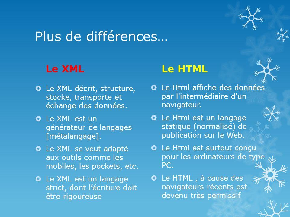 Plus de différences… Le XML Le HTML