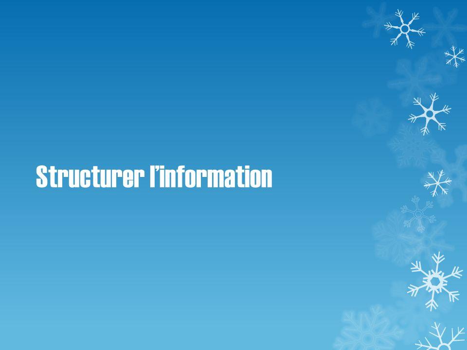 Structurer l'information