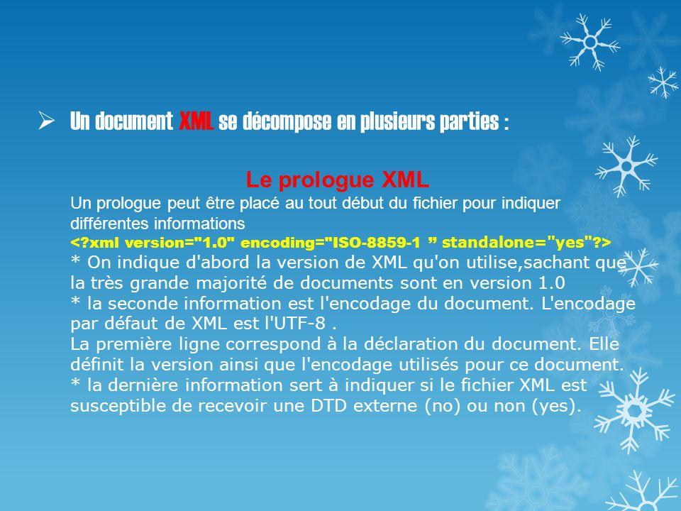 Un document XML se décompose en plusieurs parties : Le prologue XML Un prologue peut être placé au tout début du fichier pour indiquer différentes informations < xml version= 1.0 encoding= ISO-8859-1 '' standalone= yes > * On indique d abord la version de XML qu on utilise,sachant que la très grande majorité de documents sont en version 1.0 * la seconde information est l encodage du document.