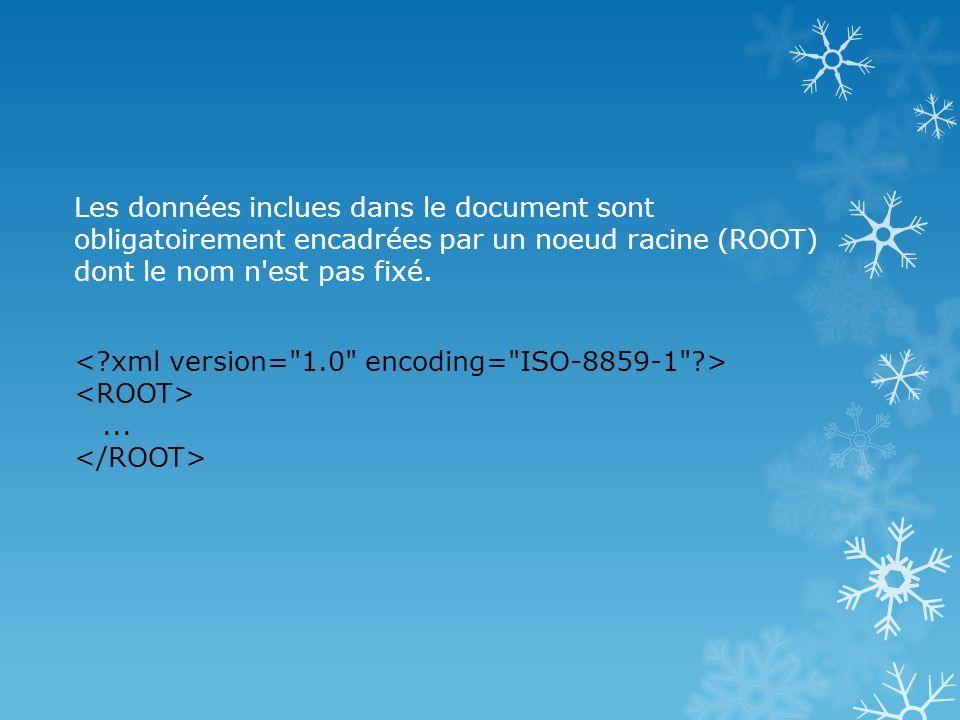 Les données inclues dans le document sont obligatoirement encadrées par un noeud racine (ROOT) dont le nom n est pas fixé.