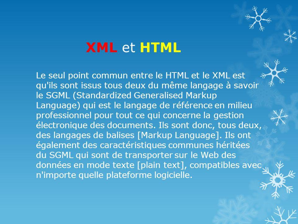 XML et HTML