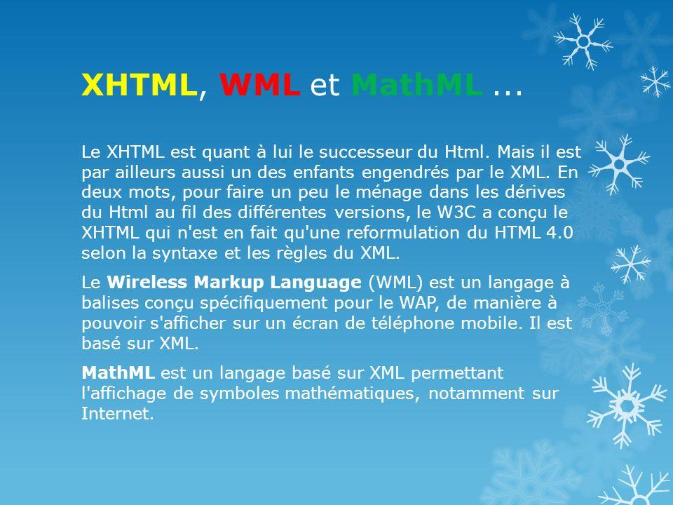 XHTML, WML et MathML ...
