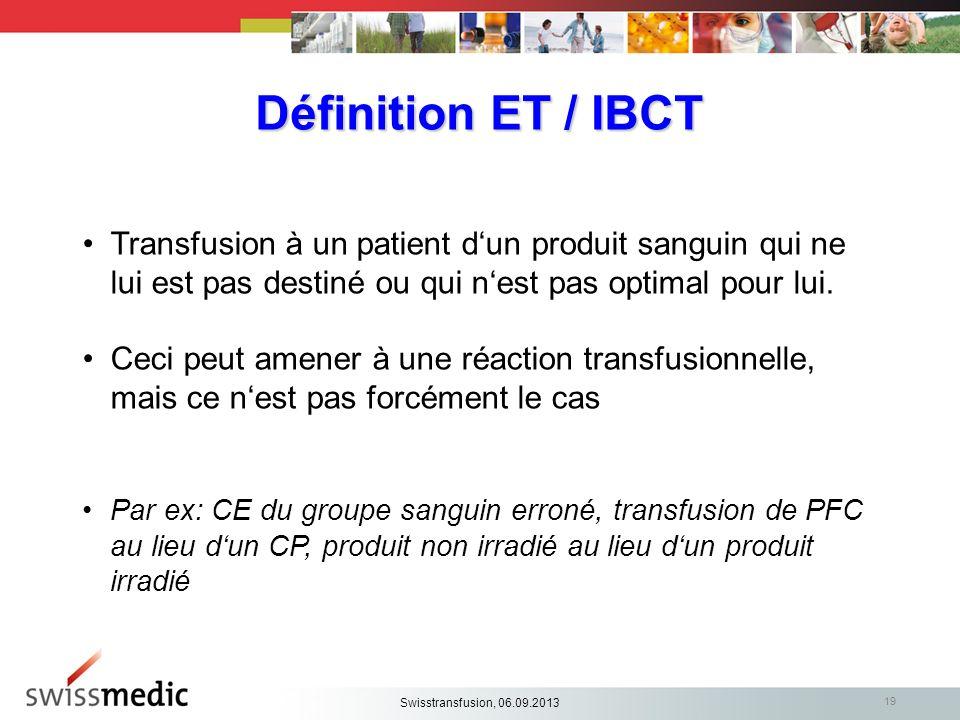Définition ET / IBCT Transfusion à un patient d'un produit sanguin qui ne lui est pas destiné ou qui n'est pas optimal pour lui.