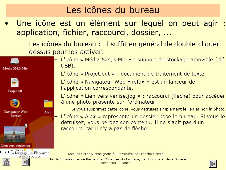 Les icônes du bureau Une icône est un élément sur lequel on peut agir : application, fichier, raccourci, dossier, ...