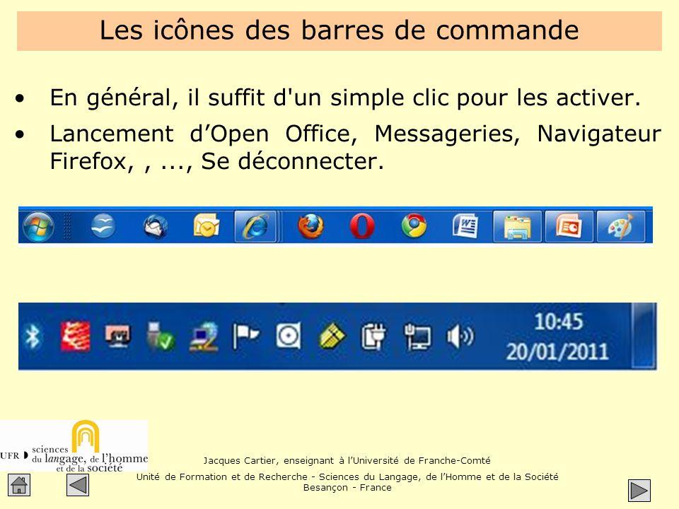 Les icônes des barres de commande