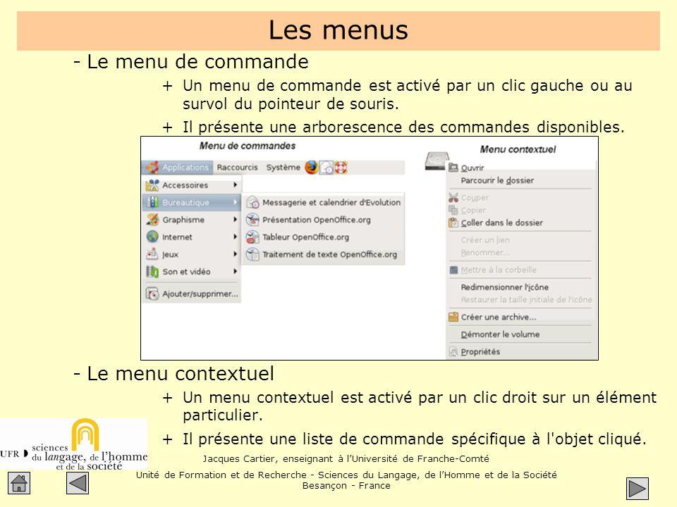 Les menus Le menu de commande Le menu contextuel