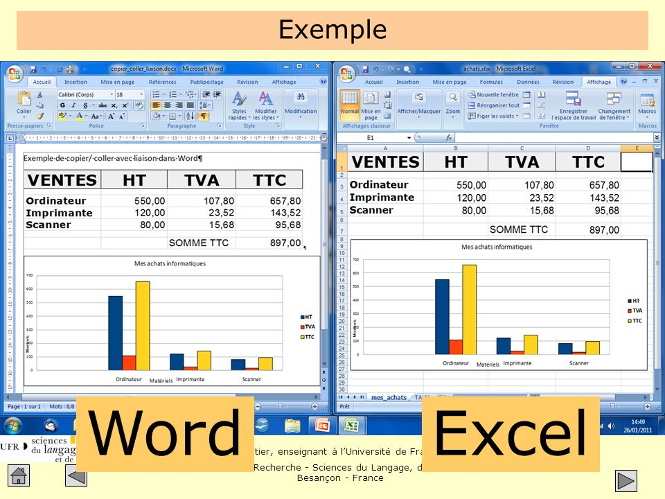Exemple Démo Word Excel