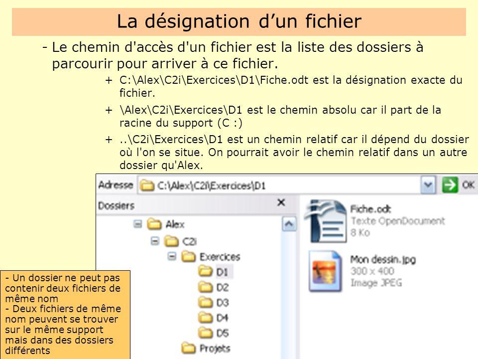 La désignation d'un fichier