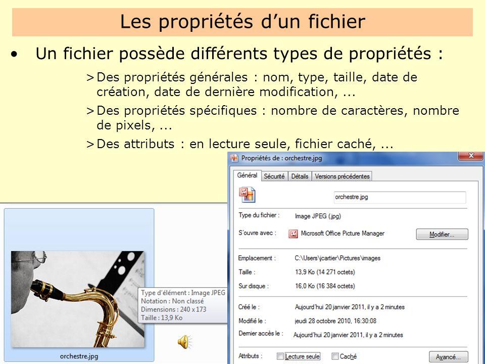 Les propriétés d'un fichier