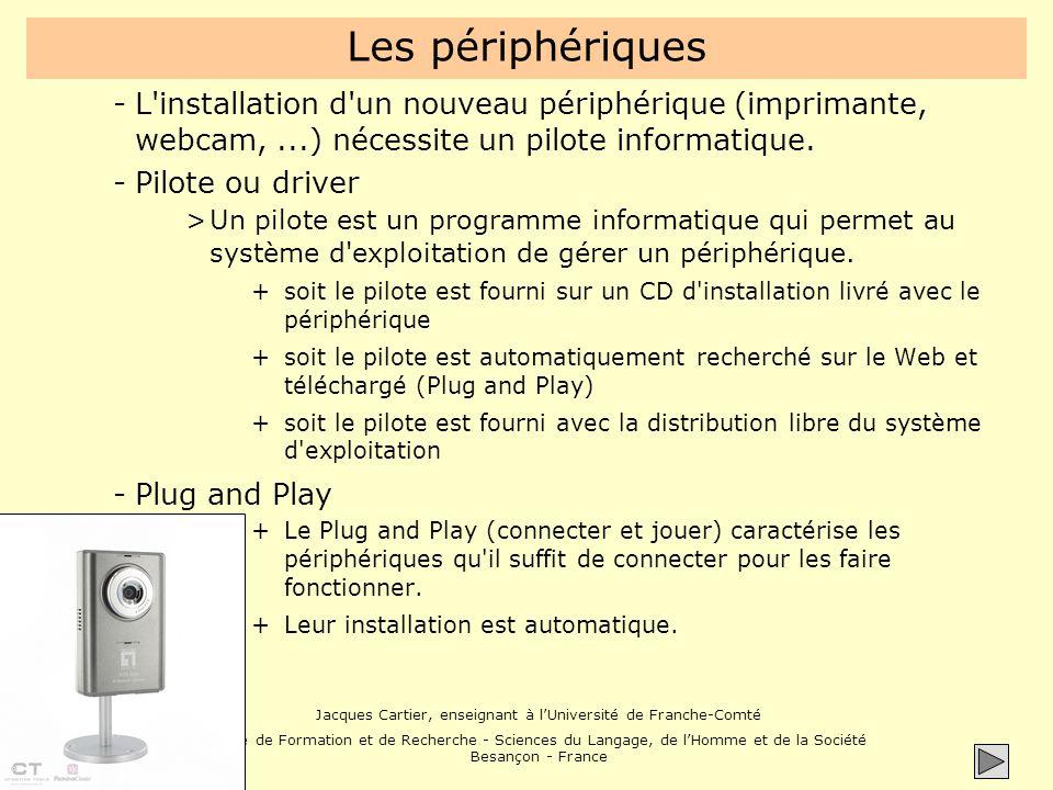Les périphériques L installation d un nouveau périphérique (imprimante, webcam, ...) nécessite un pilote informatique.