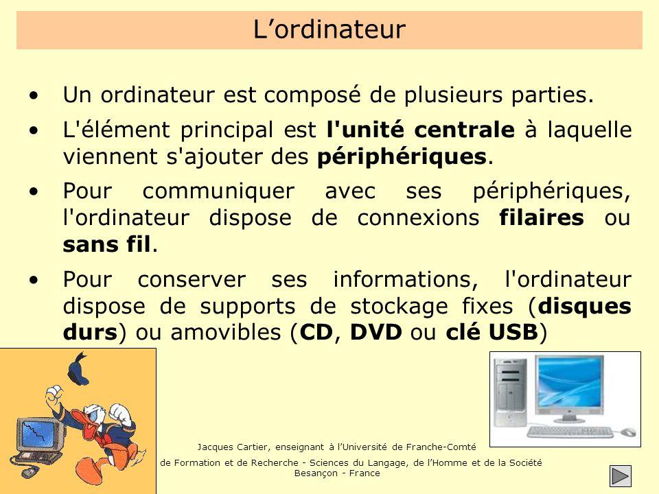 L'ordinateur Un ordinateur est composé de plusieurs parties.