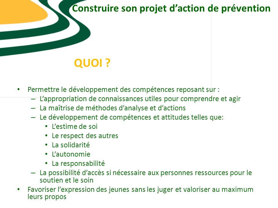 Construire son projet d'action de prévention
