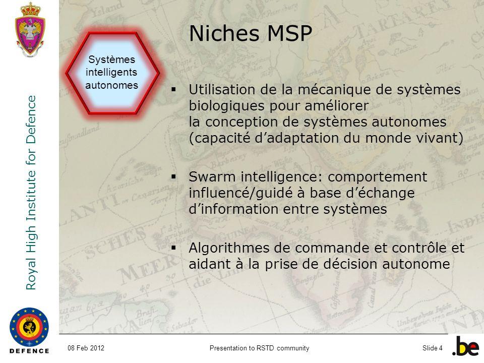 Niches MSP Systèmes intelligents autonomes.