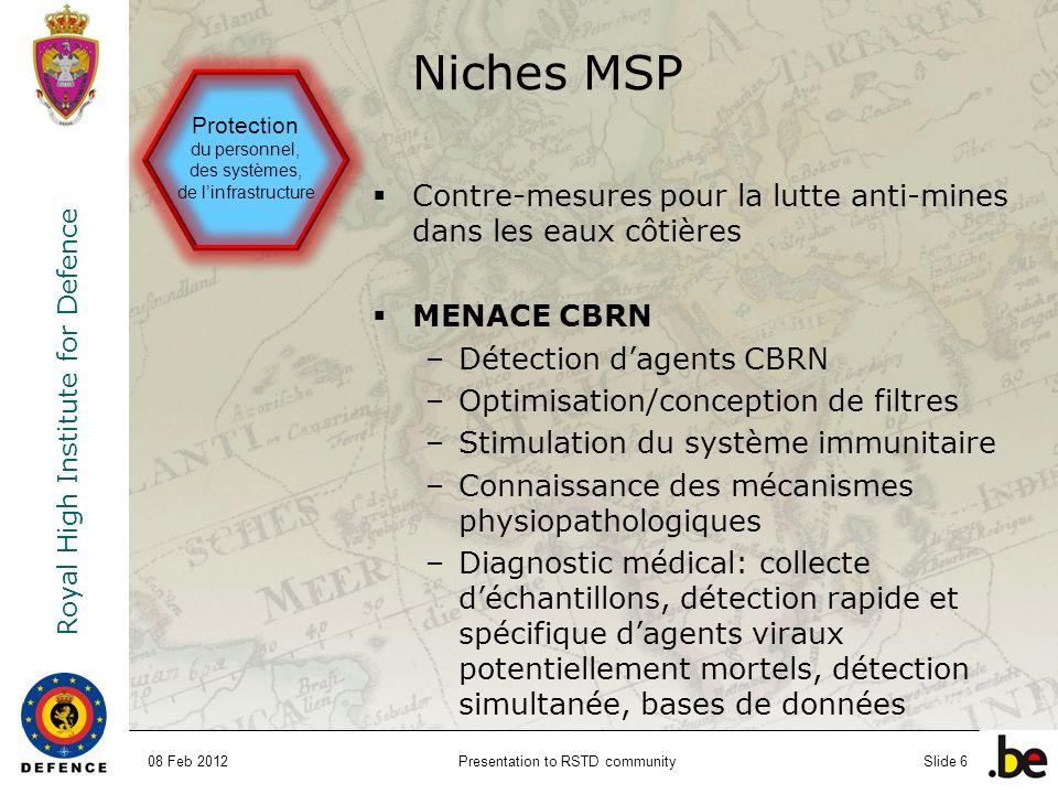 Niches MSP Protection du personnel, des systèmes, de l'infrastructure. Contre-mesures pour la lutte anti-mines dans les eaux côtières.