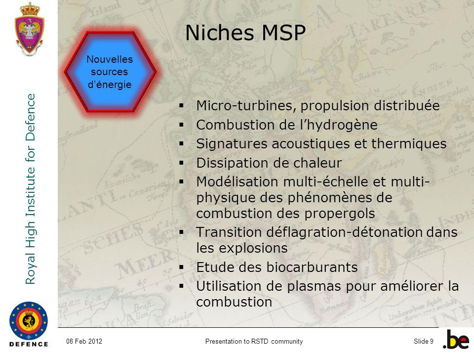 Niches MSP Micro-turbines, propulsion distribuée