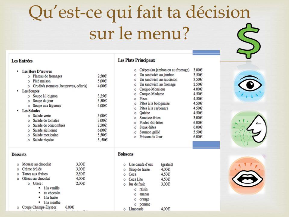 Qu'est-ce qui fait ta décision sur le menu