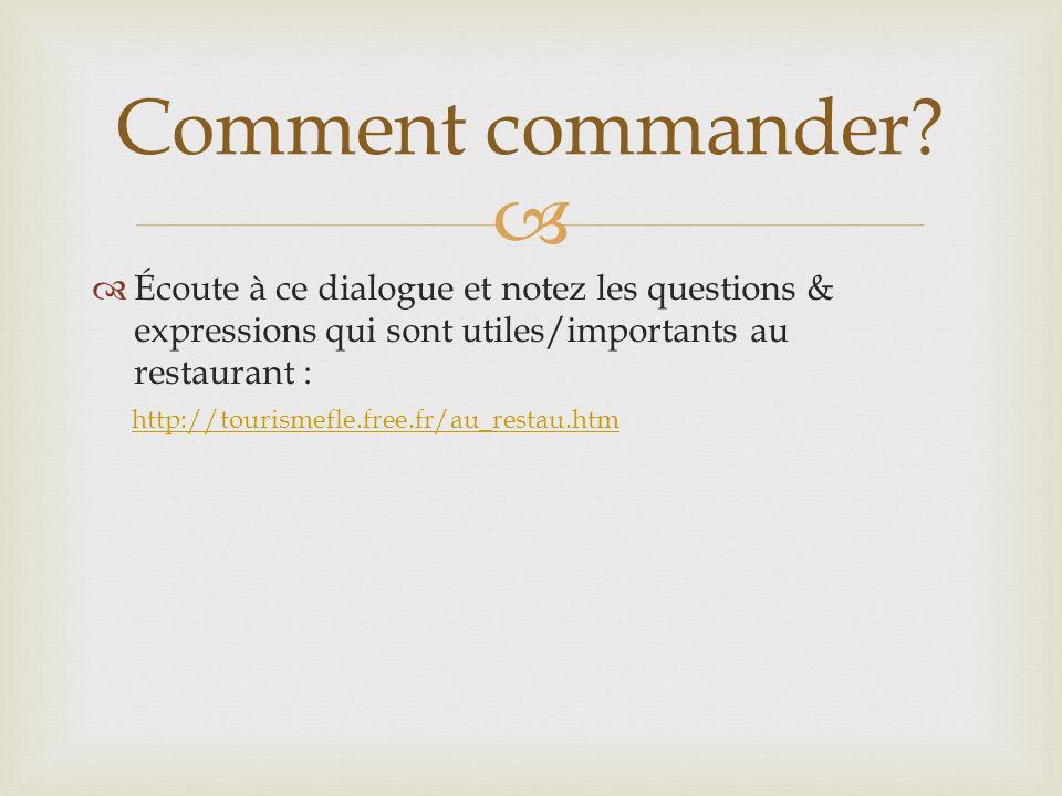 Comment commander Écoute à ce dialogue et notez les questions & expressions qui sont utiles/importants au restaurant :