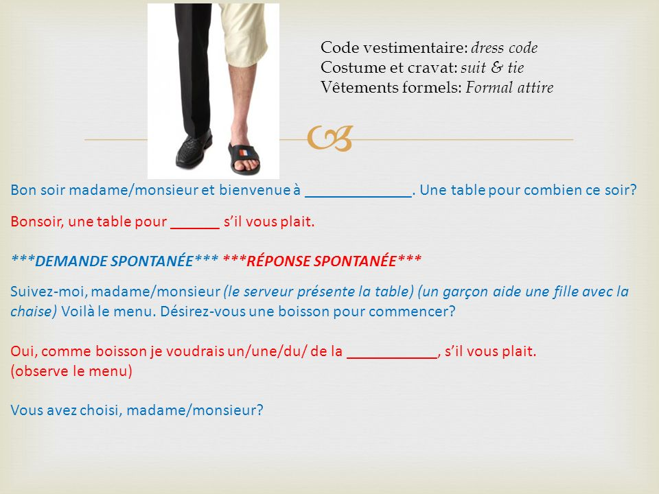 Code vestimentaire: dress code